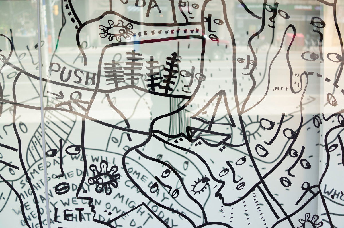 Artwork by Shantell Martin at the Bata Shoe Museum in Toronto