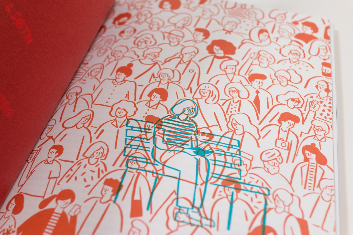Illustration of a woman sitting on a bench among a large group of people
